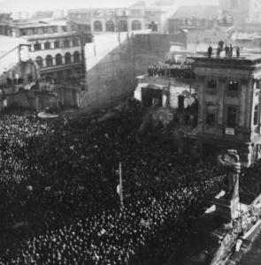 Protest in Mannheims Ruinenlandschaft. Bildnachweis: MARCHIVUM