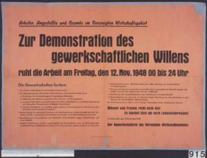 Gewerkschaftsaufruf zum Generalstreik 1948 (Bildnachweis: Stadtarchiv Stuttgart, Bestand 9400 Nr. 915)