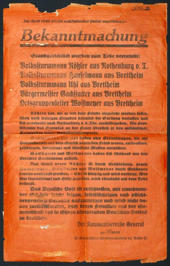 Flugblatt der Waffen-SS nach der Hinrichtung von Brettheim