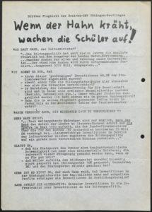 Die Bezirks-SMV Tübingen-Reutlingen argumentiert mit diesen Flugblatt gegen Kultusminister Hahn