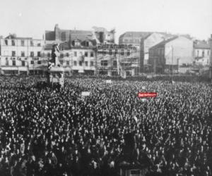 """""""Kampf dem Preiswucher"""" - eine Forderung von rund 60.000 Arbeiterinnen und Arbeitern. Bildnachweis: MARCHIVUM; Einfärbung: Hemberger (HdGBW)"""