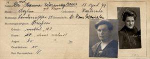 Auszug aus Hanna Worminghaus (geb. Kappes) Pass (Bildnachweis: Stadtarchiv Nürnberg, C21_VII_183_Wormingshaus_Hanna).