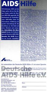 Zahlreiche Prominenten, darunter auf die im Text erwähnte Ministerin Barbara Schäfer, unterstützten einen Spendenaufruf der Deutschen AIDS-Hilfe (DAH) von 1987 (Bildnachweis: DAH).