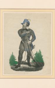 Einem badischen Revolutionär ist nichts zu schwer: Hecker in Montur (Zeitgenössische Lithografie; Bearb.: HdG BW/Hemberger).