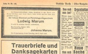 Jeder könnte es in der Zeitung lesen: Im Konzentrationslager war Ludwig Marum verstorben (Bildquelle: Badische Presse 1. April 1934, S. 20, Digitalisat: Badische Landesbibliothek).