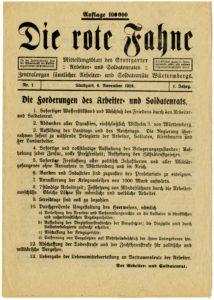 Die Rote Fahne vom 5. November 1918 (Bildnachweis: Hauptstaatsarchiv Stuttgart P 2 Bü 12)