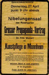Anzeige für den Gründungsabend (Bildnachweis: MARCHIVUM Mannheim, Sig. 2/2012_00576).