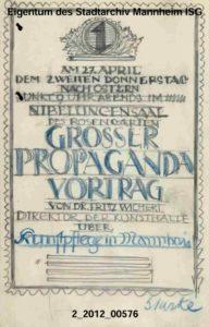 Plakatentwurf von Ottomar Stark für die Propaganda-Versammlung des Freien Bundes im Mannheimer Rosengarten am 27.4. 1911 (Bildnachweis: MARCHIVUM Mannheim, Sig. 2/2012_00576).